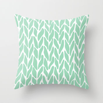 Hand Knitted Mint Throw Pillow by Project M | Society6