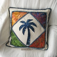 """Quilted patchwork palm tree boho pillow cover, with navy, greens and orange batik and natural denim 18"""""""