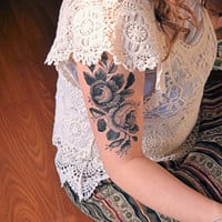 Large Temporary Tattoo - Floral Rose temporary tattoo, Floral, Unique, Tattoo, Woodland, Black, Ink, Flower