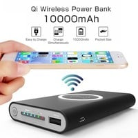 10000mAh Universal Portable Power Bank Qi Wireless Charger For iPhone Samsung S6 S7 S8 Power Bank Mobile Phone Wireless Charger