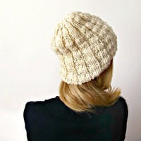 Eco Chunky Natural White Winter Beannie / Bulky Knitted White Hat / Europeanstreetteam