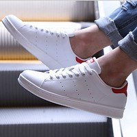 Adidas Smith retro classic board shoes couple white shoes Red