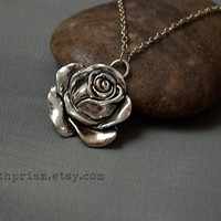 Silver Rose Necklace / Silver Chain / Rose pendant / Flower Necklace / Silver Flower