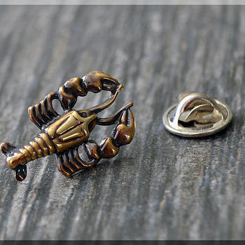 Brass Lobster Tie Tac, Sea Creature Lapel Pin, Animal Lover Brooch, Gift for Him, Gift Under 10 Dollars, Tie Tack, Lobster Unisex Pin
