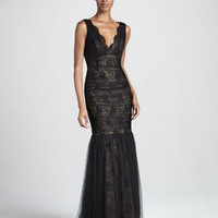 Sleeveless Lace & Tulle Gown