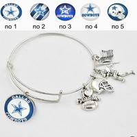 5PCS Silver Expendable Bangle Bracelet DALLAS COWBOYS Stainless Steel Expendable Bangle Bangle