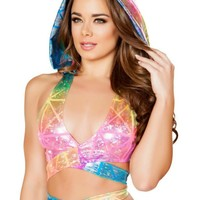Holographic Rainbow Laser Rave Wrap Top and Detachable Hoodie