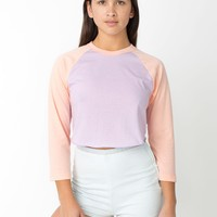 rsabb354 - Poly-Cotton Cropped 3/4 Sleeve Raglan