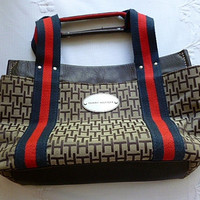 Vintage TOMMY HILFIGER PURSE, Handbag, Logo, Gently Used, Tommy Girl, Navy Blue & Red Canvas Style Strap Handles