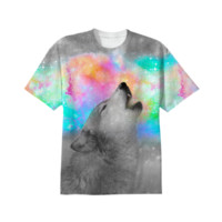 Breathing Dreams Like Air (Wolf Howl Abstract II: Gray) Unisex T-Shirt created by soaringanchordesigns   Print All Over Me