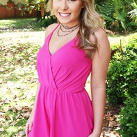 Let's Take A Trip Romper In Pink