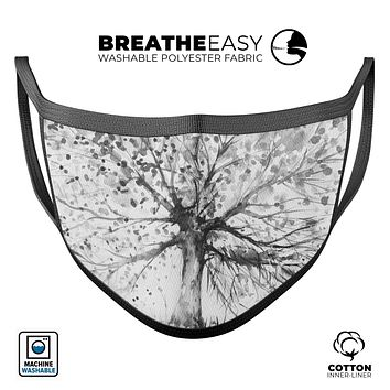 Abstract Black and White WaterColor Vivid Tree - Made in USA Mouth Cover Unisex Anti-Dust Cotton Blend Reusable & Washable Face Mask with Adjustable Sizing for Adult or Child