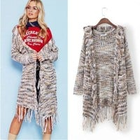 Women's Fashion Winter Knit Hats Tassels Sweater Jacket [31068684314]