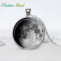 Full Moon Necklace Moon Pendant  Galaxy Space  Grey Moon  Jewelry Necklace for men  Art Gifts for Her(P11H03V02)