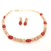 Peach moonstone jewelry set, gemstone necklace strand and earring set, peach moonstone and carnelian