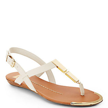 Ivanka Trump - Rolly Leather T-Strap Sandals