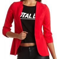 Ruched Sleeve Collarless Blazer by Charlotte Russe - Bright Red