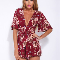 Butterfly Sleeve V-neck Jumpsuit Casual Wine Red Flowers Printed Rompers
