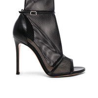 Gianvito Rossi Leather & Mesh Ankle Strap Heels in Black & Black | FWRD