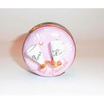 JUST MARRIED Wedding His Her Champagne Glasses Limoges Box