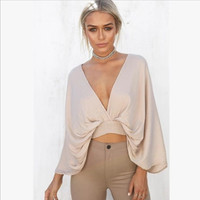 Beige Deep V-Neck Butterfly Sleeve Backless Crop Top