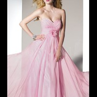 Adorable Pink A-line Sweetheart Neckline Sweep Floor Chiffon Prom Dress from SinoSpecial