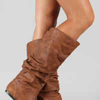 Slouchy Round Toe Knee High Flat Boot