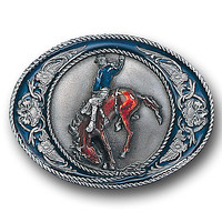 Bronco Rider with Scroll Enameled Belt Buckle