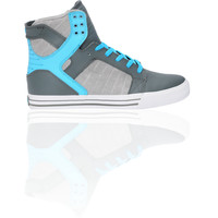 Supra Skytop Smooth Grey & Turquoise Action Leather Shoe