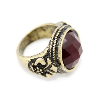 New  Vintage Retro Simple Antique Red Stone RING
