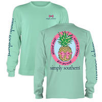 Simply Southern Preppy Be Sweet Pineapple Bow Long Sleeve T-Shirt
