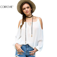 COLROVE Sexy Puff Sleeve Cold Shoulder Cute Woman Blouses Summer Style Casual Shirts White Self-tie Neck Blouse