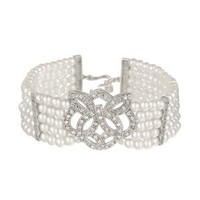 """Sterling Silver 5-Row Simulated Pearl with Cubic Zirconia Twist Center and Side-Bars Bracelet, 7+1"""" Extender"""