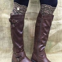 Brown Lace Boot Topper with Button