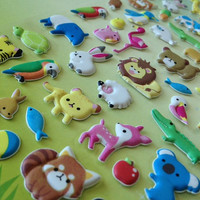 Cute farm animal sticker zoo Forest Garden puffy sticker cute owl pink deer squirrel purple raccoon cat lovely baby animal scrapbook diary