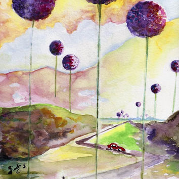 Alliums of Floraville Original watercolor and Ink