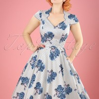 50s Lori Roses Swing Dress in Blue and White