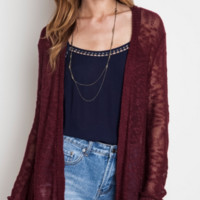 Open Knit Cardigan with Lace Trim (S-L)