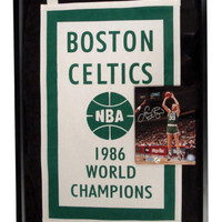 Autographed Larry Bird 8X10 Photo With 1986 Championship Banner Framed