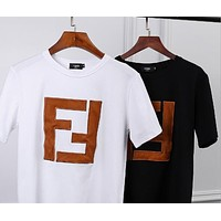 FENDI Summer Trending Casual F Letter Embroidery Pure Cotton T-Shirt Top Blouse