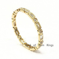 Baguette/Round Diamond Wedding Band Eternity Anniversary Ring 14k Yellow Gold,Reel Bead