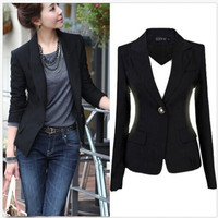 Women's One Button Slim Casual Business Suit Jacket Coat