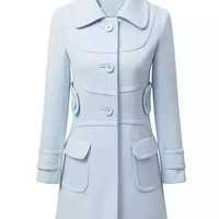 Light Blue Pointed Flat Collar Buttoned Woolen Coat