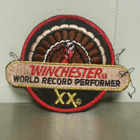 Vintage 80's Winchester World record Performer XX Turkey Hunting Patch Craft Red Black
