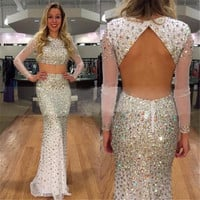 Dazzlingly Colorful Rhinestone 2 Pieces Party Dress Fsahionable Sheer Ivory Mermaid Prom Dresses With Long Sleeve Vestidos Festa