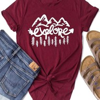 Explore Mountain Tree Short Sleeve T-Shirt - Bellelily