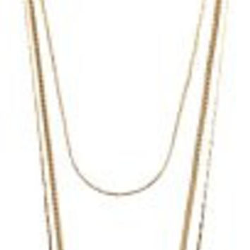 Gold 3 Layered Strand Necklace