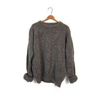 Speckled Wool Boyfriend Sweater Lands End Oversized Slouchy Brown Pullover Sweater Loose Fit Unisex Preppy Marled Crewneck Mens Large