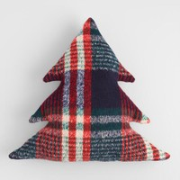 Plaid Holiday Tree Shaped Throw Pillow