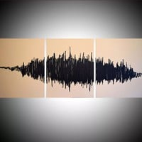 "ARTFINDER: sound wave art modern contemporary painting in triptych ""In Rhythm"" beige music theme symphony black 48 x 20"" by Stuart Wright - "" In Rhythm ""    A modern painting, based on so..."
